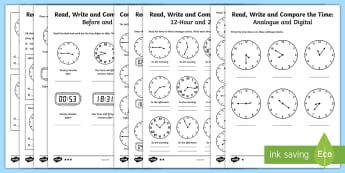 Year 4 Read Write and Compare the Time Differentiated Activity Sheets - Read, write and convert time between analogue and digital 12- and 24-hour clocks, Year 4, Y4, KS2, K