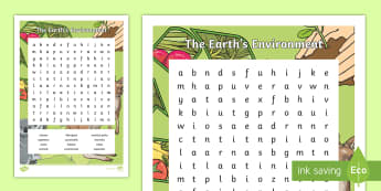 The Earth's Environment Word Search - The Earths Environment, Geography, English, Word Hunt, Word Search, Year 3, Year 4,Australia