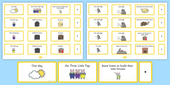 The Three Little Pigs Sentence Building Cards - story, pig, wolf