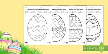 Colorează oul de Paște după codul câtului - română, matematică, împărțiri, înmulțiri, exerciții de împărțire, paște, paștele, paș