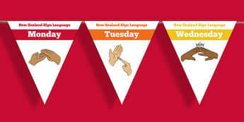 New Zealand Sign Language Days of the Week Display Bunting - nz, new zealand, sign language, new zealand sign language week, days of the week, display bunting, display, bunting