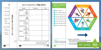 Superhero Statistics Activity Pack - NZ Statistics, Back to School, tally marks, bar graph, spinner, data, superheroes