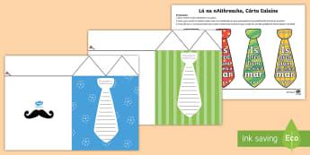 Lá na nAithreacha, Cárta Ealaíne (Carbhat)  - Fathers Day Flap Tie Card Craft Lá na nAithreacha, Cárta Ealaíne, Carbhat, - fathers, day, lá na