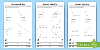 Estimate Angle Size Differentiated Activity Sheets - ACMMG112, Year 5 Maths, Angles, Angle, Measure Angles, Draw Angles, Estimate Angle, Angle Size, Acut
