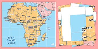 Map of Africa Bee-Bot Mat -  - Map of Africa - map of africa, continent, countries, africa, beebot, bee bot