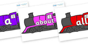 100 High Frequency Words on Trains - High frequency words, hfw, DfES Letters and Sounds, Letters and Sounds, display words