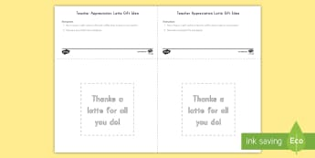 Teacher Appreciation Latte Gift Card Template - Teacher Appreciation Week, Teacher Appreciation, thanks, thank you, gift, present, gift tag, latte,
