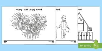 100 Days of School Colouring Pages - 100 Days of School, hundred, nz, new zealand, milestone, celebrate
