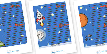 Space Themed Height Chart - education, home school, free, fun