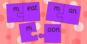 m And Vowel Production Jigsaw Cut Outs - m, vowel, jigsaw, sounds