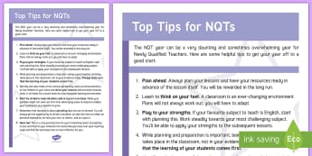 ROI NQT Top Tips for NQTs Information Cards - ROI, NQT, Top Tips, Tips, Advice, Organisation, Planning, Assessment,Irish