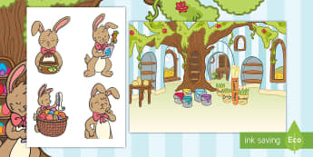 Saving Easter Story Cut-Outs - Children's Books, saving easter, eggs, easter bunny, storybooks, pictures, sequencing, cutouts,