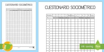 Cuestionario sociométrico para 6-7 años  - sociograma, relaciones socials, relaciones en clase,Spanish