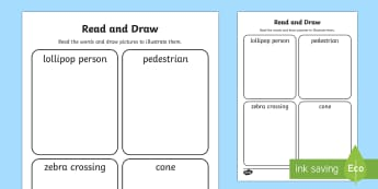 Road Safety Read and Draw Activity Sheet