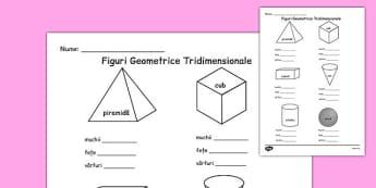 Proprietățile corpurilor geometrice - Fișă de lucru