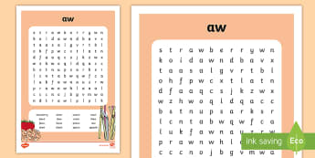 'aw' Digraph Differentiated Word Search - vowel diagraph, reading, first class, second class, 1st class, 2nd class, jolly phonics, jolly gramm