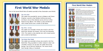 New Zealand First World War Medals Large Information Poster - New Zealand, Anzac Day, 25 April, ANZAC, Poppies, World War 1, World War 2, Gallipoli, medals, award