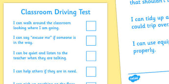 Classroom Driving Test - good behaviour, rules, classroom, safety, safe, test