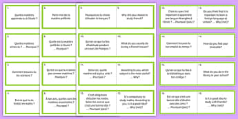 General Conversation Question Double Sided Cards French English My Studies - french, Conversation, Speaking, Questions, Studies, Education, School, Subjects, Éducation, École, Matière, Cards, Cartes