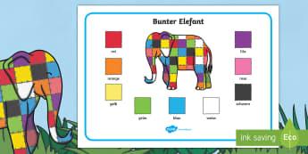 Elmer Farbe Wort Matte German - german, elmer, colour, word mat, word, mat
