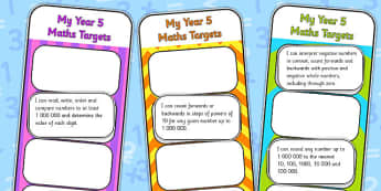2014 Curriculum Year 5 Maths Target Bookmarks - numeracy, ks2