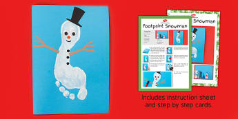 Footprint Snowman Craft Instructions - footprint, snowman, craft, instructions