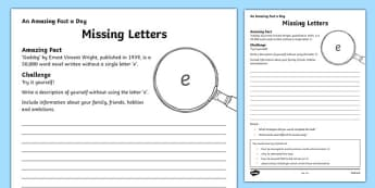 Missing Letters Activity Sheet, worksheet