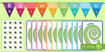 Koru Birthday Display Pack - Te Reo Maori / English - birthday, koru, maori, New Zealand, NZ, party, celebration,