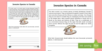 Invasive Species Writing Activity Sheet - Uniquely Canadian, social studies, science and technology, writing, reading, government, critical th