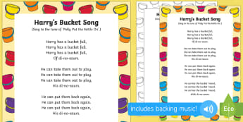 Harry's Bucket Song to Support Teaching on Harry and the Bucketful of Dinosaurs  - Harry and the Bucketful of Dinosaurs, Ian Whybrow, singing, song time, dinosaurs