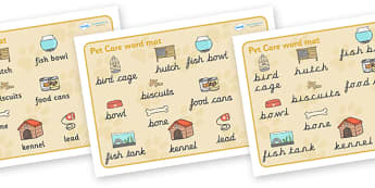 Pet Care Word Mat - Pet, word mat, writing aid, pets, cat, dog, rabbit, mouse, guinea pig, rat, hamster, gerbil, horse, puppy, kitten, snake, chinchilla, snail, lizard, budgie