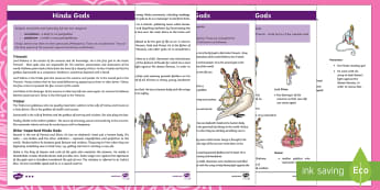 KS2 Hindu Gods Differentiated Fact File