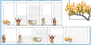 Moses Page Borders - Moses, Egypt, Hebrews, slaves, Pharaoh, basket, God, palace, shepherd, page border, border, writing template, writing aid, writing, burning bush, plague, Primised Land, law, stone, ten commandments, bible, bible story