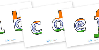 India Flag Display Lettering (Lowercase) - India, bhangra, elephant, sari, peacock, cobra, curry, rickshaw, display lettering, lowercase, alphabet, A-Z, A4, display, Alphabet frieze, Display letters, Letter posters, A-Z letters, Alphabet flashcards,