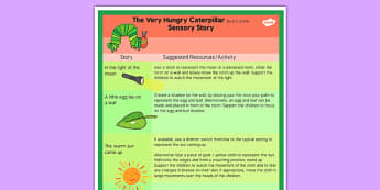 The Very Hungry Caterpillar Sensory Story - sensory story, story