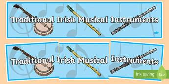Traditional Irish Musical Instruments Display Banner-Irish