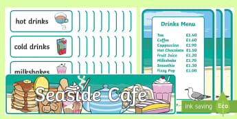 Seaside Cafe Role Play Pack - Cafe Role Play Pack - Cafe, shop, role play, price, seaside, sea side, prices, poster, display, menu