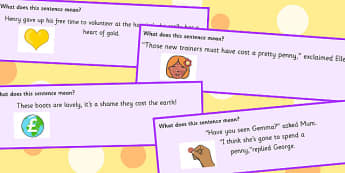 Money Idioms Sentence Cards - money, idioms, sentences, money idioms
