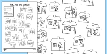 Houses and Homes Roll and Colour Activity Sheet - house, home, colour