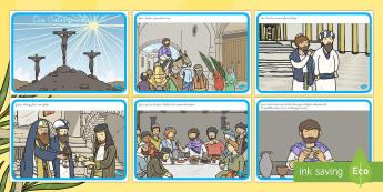 Ostern Bildergeschichte: DIN A4 Karteikarten - Ostern Bildergeschichte, Ostern, Osterzeit, Osterhase, Jesus Christus, Jesus Christus Geschichte, Je