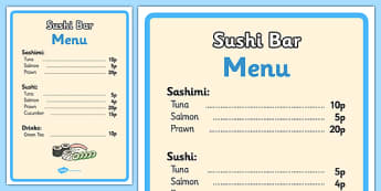 Sushi Bar Role Play Menu - sushi bar, role play, menu, sushi bar role play, role play menu, sushi bar role play menu, sushi bar menu