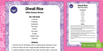 Diwali Rice Edible Sensory Recipe