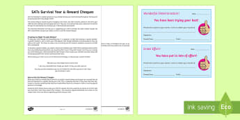SATs Survival Year 6: Reward Cheques Activity Sheet - SATs Survival Materials Year 6, SATs, assessment, 2017, English, SPaG, GPS, grammar, punctuation, sp