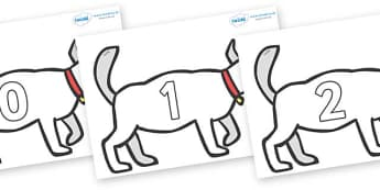 Numbers 0-100 on White Dog to Support Teaching on Brown Bear, Brown Bear - 0-100, foundation stage numeracy, Number recognition, Number flashcards, counting, number frieze, Display numbers, number posters