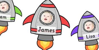 Editable Space Rocket Photo Frame Self Reg Labels - self registration, self-registration, editable photo frame, space themed photo frame, self registration rockets, space rockets, space, in space, outer space, editable, editable labels, editable self