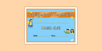 Gaeilgeoir na Seachtaine Junior and Senior Infants Certificate - roi, irish, gaeilge, certificate, language, Gaeilgeoir, Junior and Senior Infants