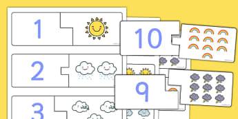 Weather Themed Counting Matching Puzzle - count, match, seasons