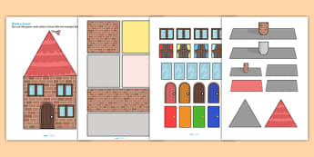 Houses and Homes Build a House Using Shapes - houses and homes, houses, homes, build a house, shapes, design, shape activities, cut and stick, cut outs