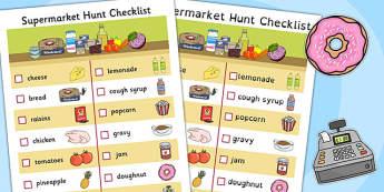 Supermarket Hunt Checklist - supermarket, hunt, checklist, list