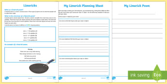 Limerick Poem Writing Template - Literacy, Interpreting, analysing, evaluating, english, poetry, writing, poems, poetry, cinquain poe